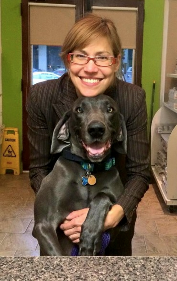 After some intensive care, the 45-pound dog was fostered by Diane. It would be a long road to recovery.