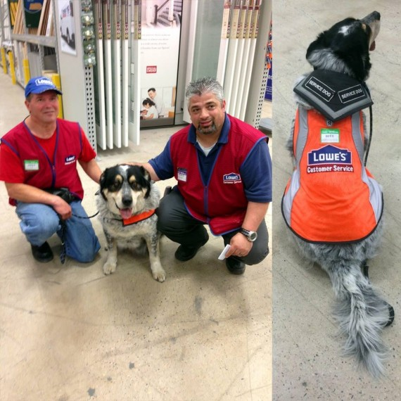 Lowe's Canada took to social media to announce the hiring of a man and his service dog.